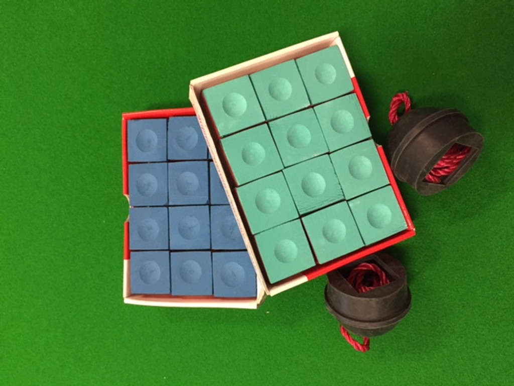 12 pieces of either Blue or green chalk with two rubber chalk holders