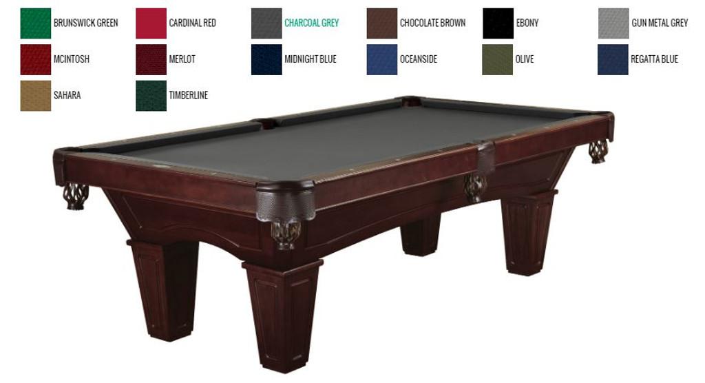 "8' ""Brunswick"" Allenton Pool Table - Cherry Stain - Tapered Leg"
