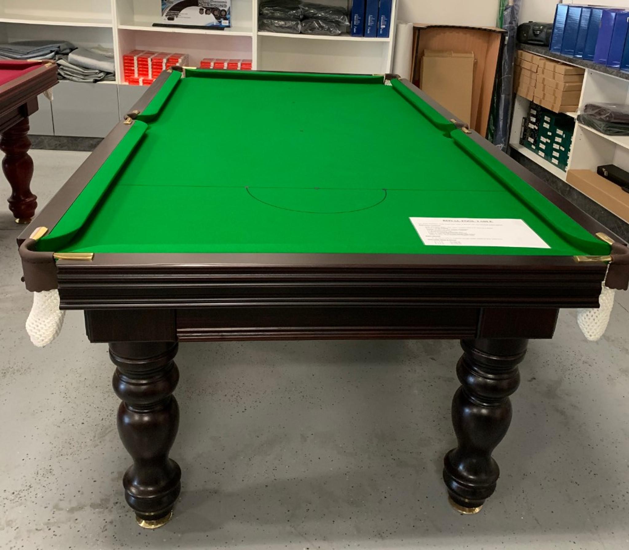 Astra Billiards & 8\u0027 Royal Pool Table - Walnut Stain Green Cloth