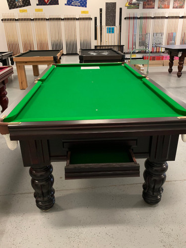8' Astra Exclusive Pool Table - Walnut Stain - Green English Cloth