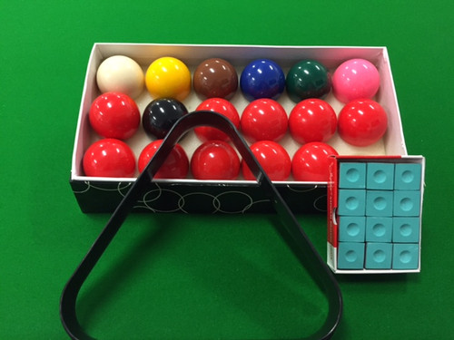 "2"" inch SNOOKER BALLS, TRIANGLE & CHALK PACKAGE -  Pool Snooker Billiard Balls"