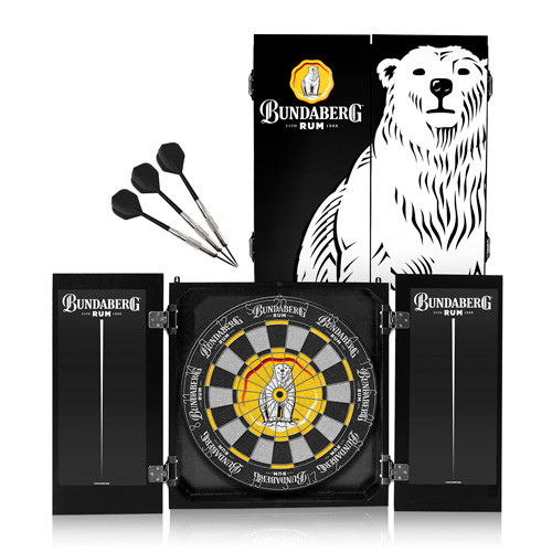 Bundaberg Rum - Bundy Bear Dart Board Set with Wooden Cabinet & 3 Darts