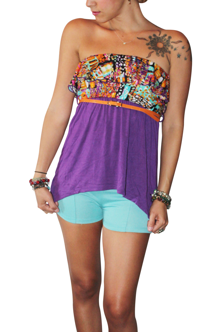 ca4a9ba965 Strapless Belted Top With Ruffle Is Purple And Orange! 95% Rayon. (A-55) -  5dollarfashions.com