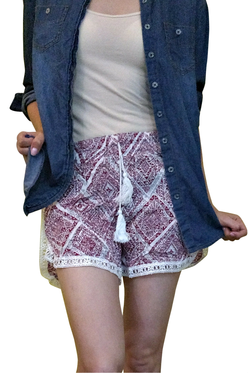 b456f46033c 100% Rayon Challis Shorts with Lace Trim! Red White Tribal Pattern. From  MAZE! (E-3) - 5dollarfashions.com