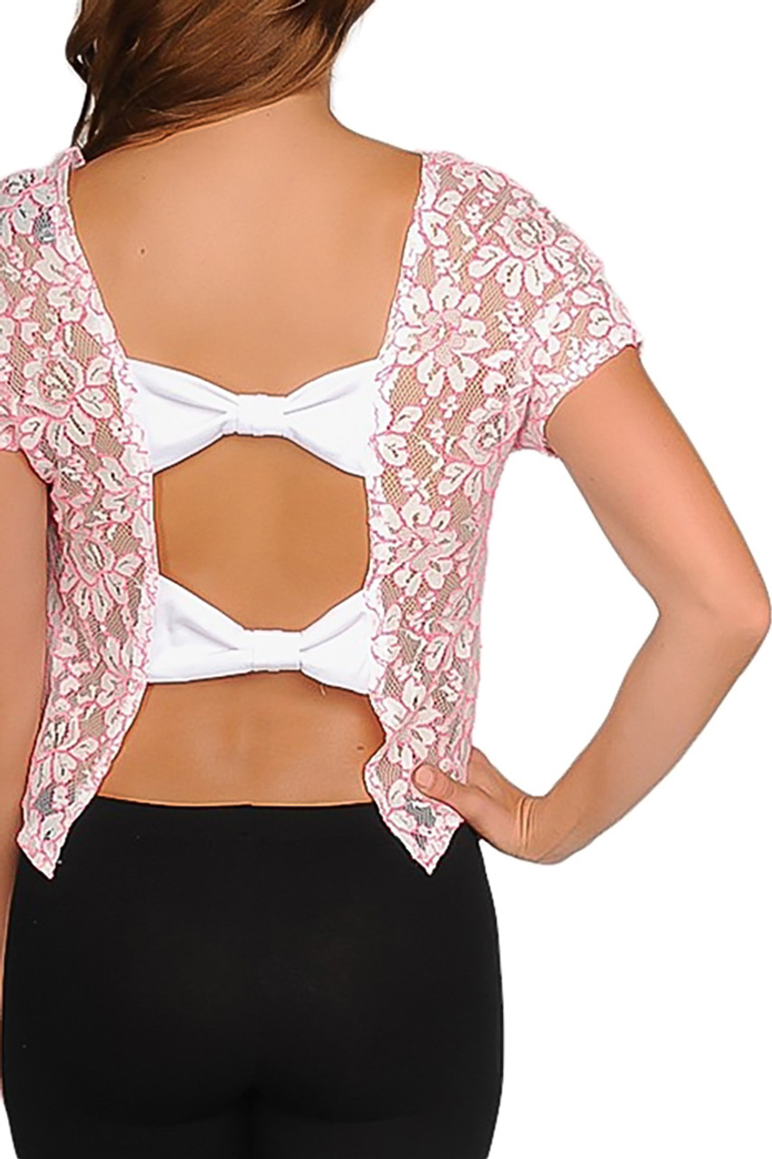 9eba84177a2af Wet Seal Pink and White Lace Top with Open Bow Back! $16.50 Original Tags!  (B-92) - 5dollarfashions.com