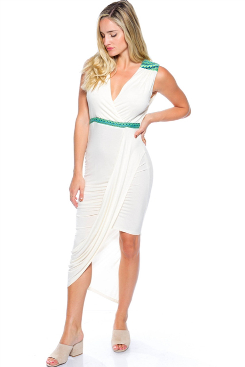Long Ivory White Maxi Dress With Green Tribal Accents D 15