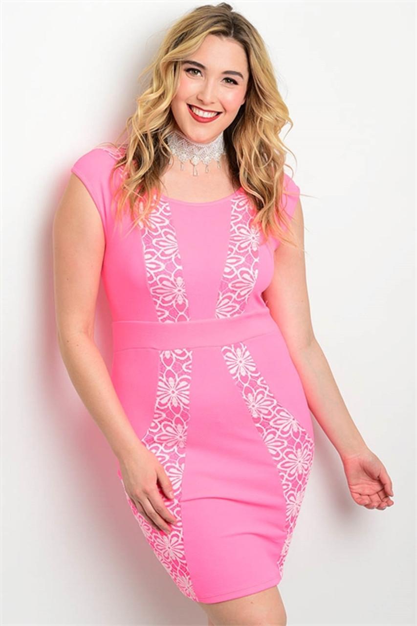 Plus Size Bodycon Midi Pink Dress w/ a Floral Design (17-28)
