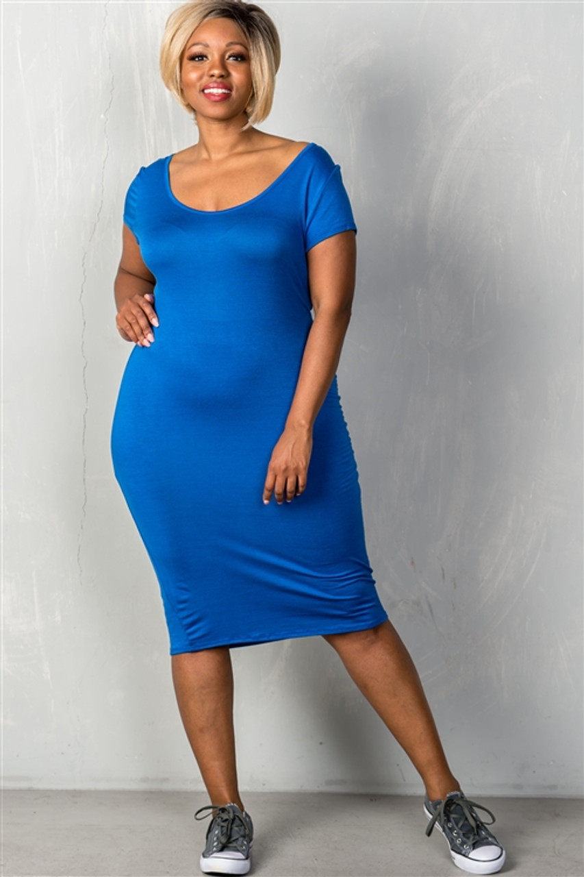 Royal Blue Plus Size Basic Short Sleeve Midi Dress (25-5)