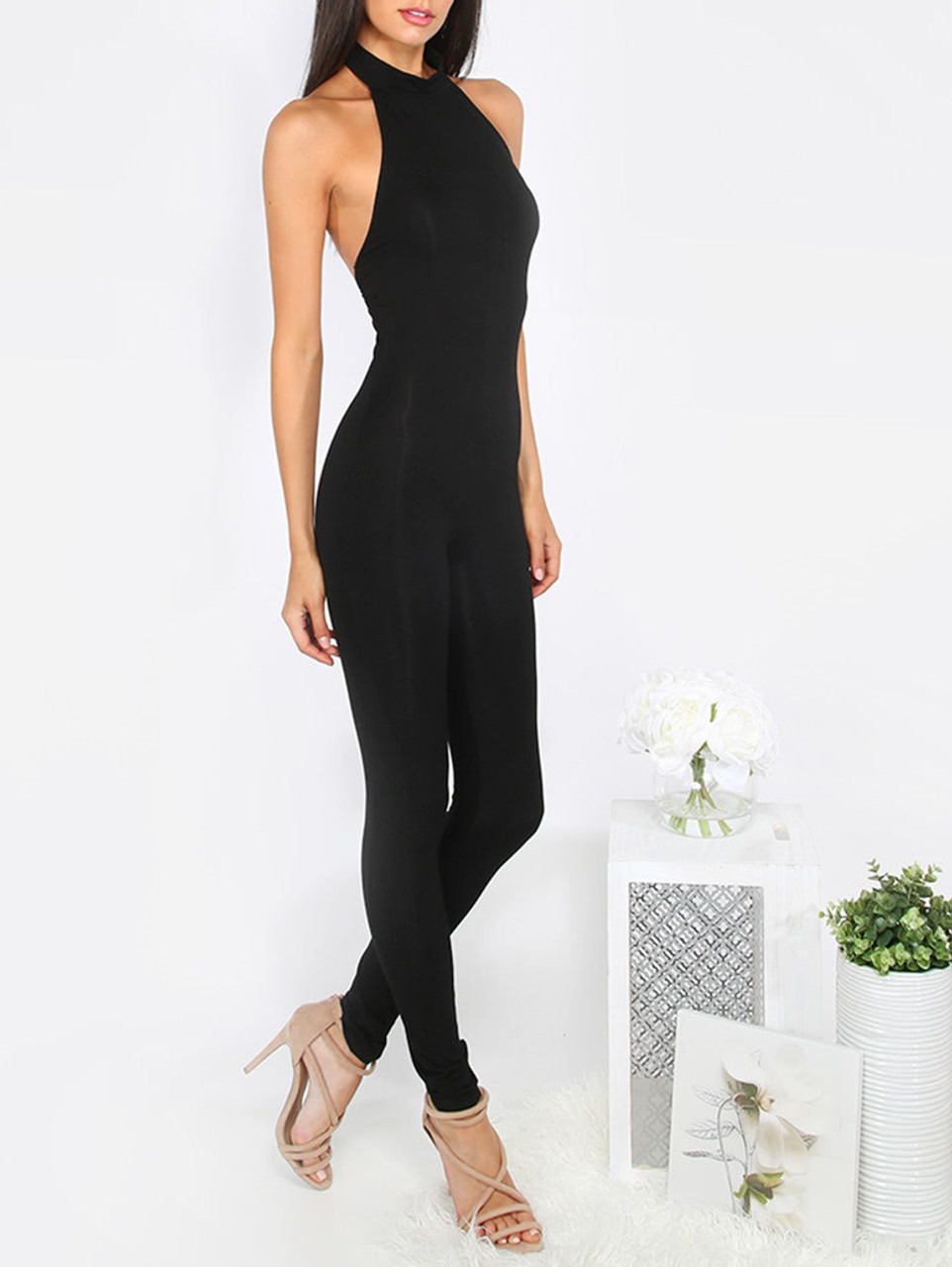 4746449a0bec Sexy Halter Backless Black Jumpsuit (10-1) - 5dollarfashions.com