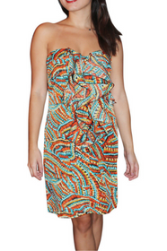 Ruffled Front Dress With Optional Straps And Zipper Back. Orange Multi  Color. 3% Silk. (D-50) 4b2ec1cd2