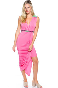 dc14d92081 Long Pink Maxi Dress with Green Tribal Accents. (D-16)