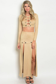 20024c2a324 Sexy Lace Up Two Pc Micro-suede Camel Top & Skirt Set (40-7)