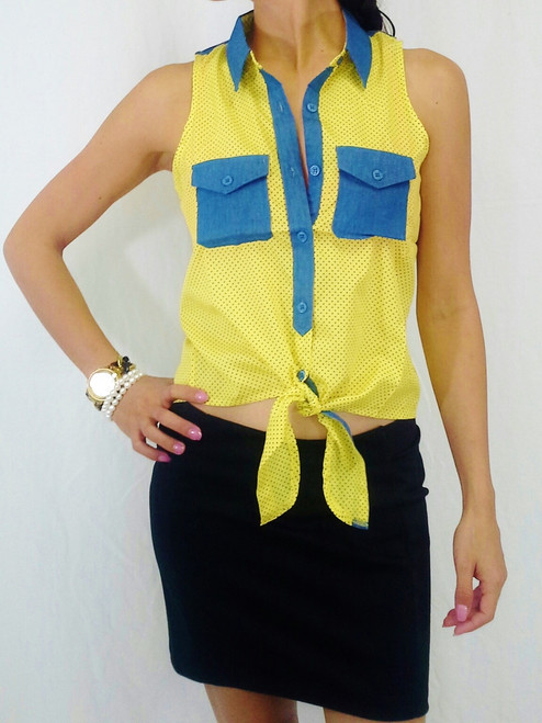 Chiffon Button Down Top with Two Denim Pockets! Yellow Micro Polka Dots!  (B-9)
