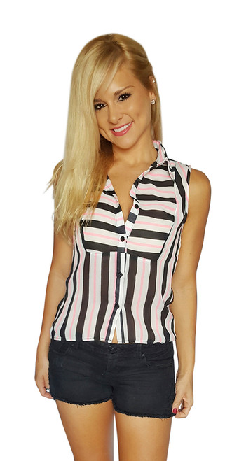Sleeveless, Pleated Buttondown Top w/Black & Pink Stripes! (B-12)