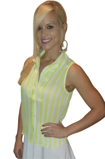 Pleated Sleeveless Top w/Faux Button in Back! Yellow Stripes! (B-13)