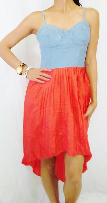 $29.99 Original Tags! Charlotte Russe Dress! Orange Skirt & Acid Washed Denim Upper!! (C-26)