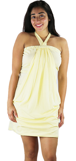 100% COTTON Halter Dress/Coverup Buttercup Yellow  (C-20)