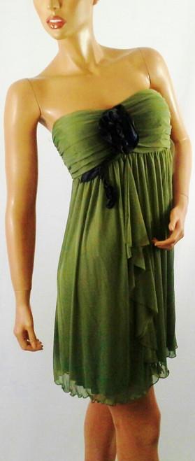 Strapless Chiffon Tube Dress! Olive Green with Black Flower.  (B-11)