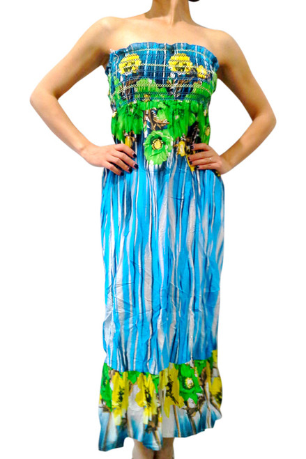 100% Cotton! Maxi Strapless Sundress in Brilliant Blue!  (B-14)