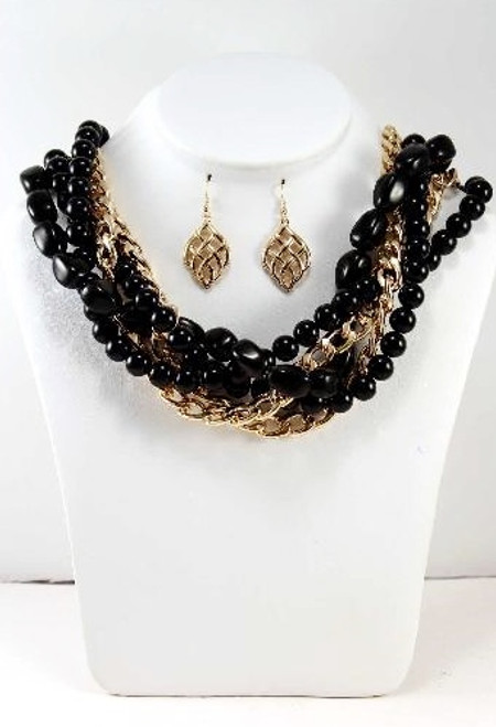 NECKLACE & EARRINGS SET!  Braided Chain & Natural Style Beads! Gold/Black.  (G-92)