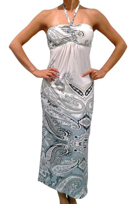 MAXI DRESS Halter  White w/Grey Paisley (C-162)