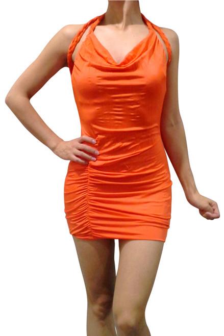 Boutique Halter Braided Criss-Cross Dress Orange.  (C-45)