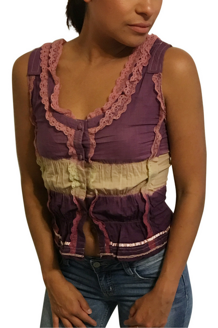 100% Cotton Peasant Top! Boho-Chic Purple Tie Dye.  (A-164)