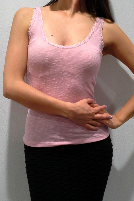 98% COTTON, High Quality Tank Top with Lace Trim! Perfect for Layering! Light Pink.  (E-140)