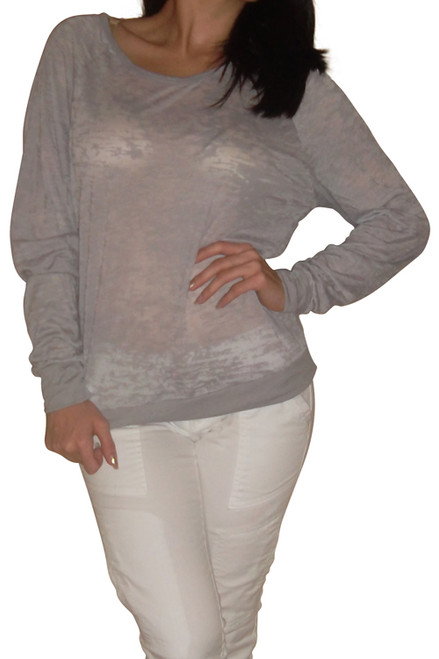 Major Brand Long Sleeve Top with Burnout Material. Grey. (D-71)