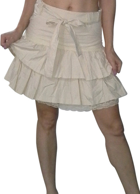 100% Cotton Belted, Pleated Skirt! Butter Yellow Taupe.  (E-68)