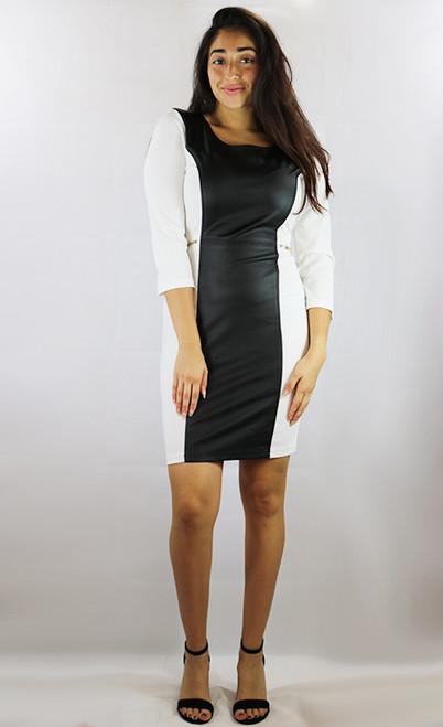 65% Cotton White Dress w/Faux Black Leather  (C-132)