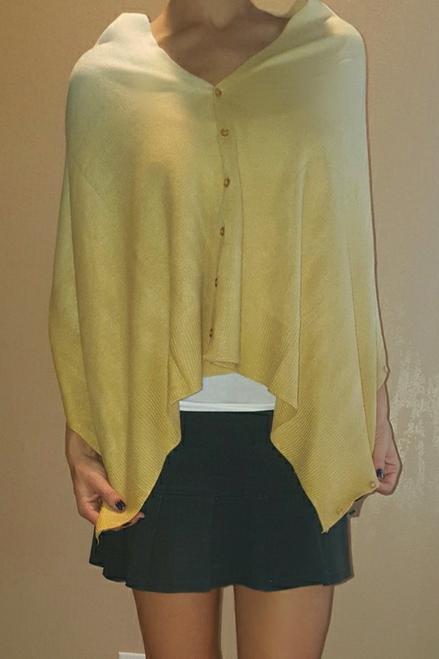BOUTIQUE Cardigan Buttondown Poncho.Butter & Cream.  (D-189)