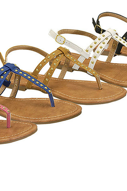 Three Strap Gladiator Sandals with Studs! Camel. (L-11)