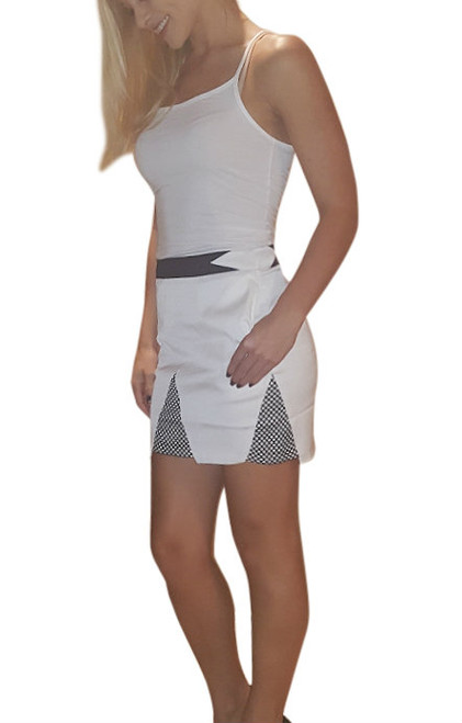 Classic Pencil Skirt with Asymmetrical Cutouts! White with Black.  (E-62)
