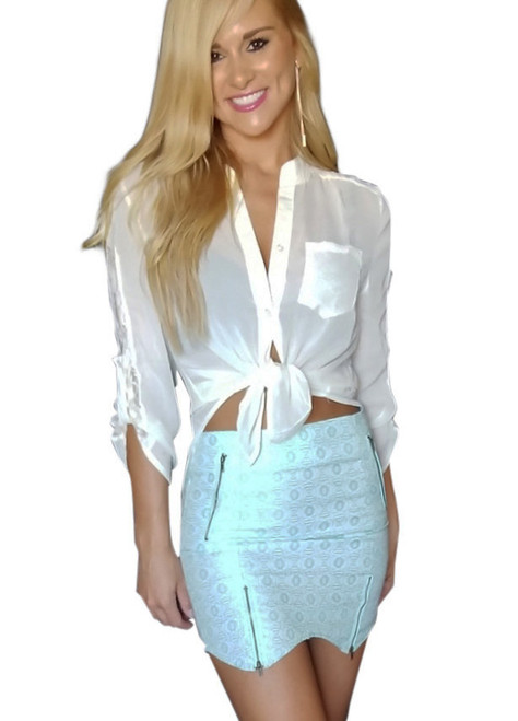 Trendy Skirt has Zippers and Asymmetrical Geo Pattern! Mint.  (E-59)