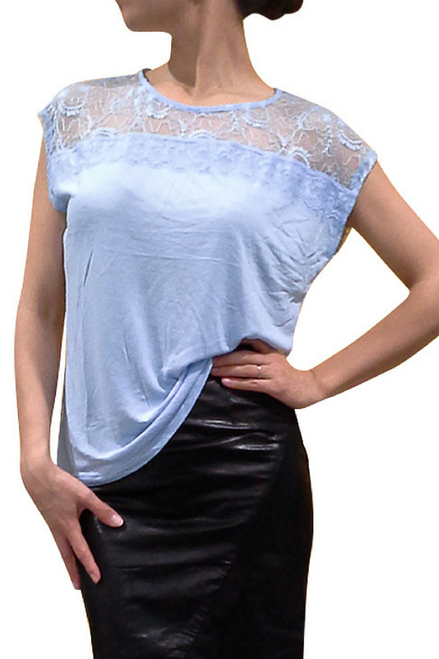 Major Brand Top with Lace Back & Shoulders! Blue.  (D-79)