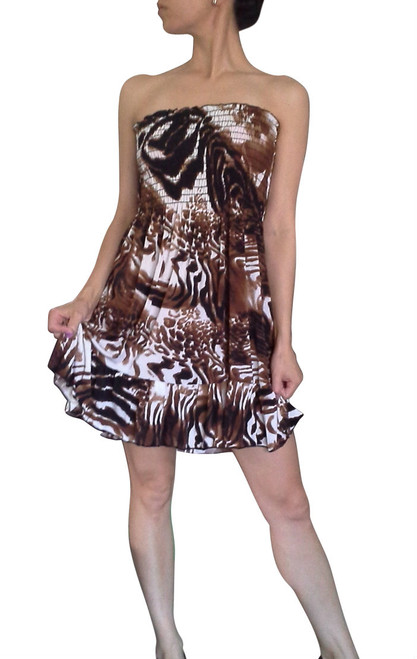 100% Rayon Strapless Dress in Brown & White Animal Print!  (C-164)