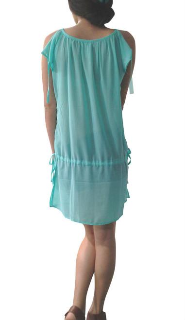 Mint Chiffon Tunic Dress/Top with Side Slits and Drawstring Waist.  (A-128)