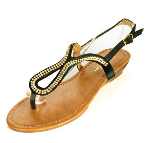 Black Aldo-Inspired Loop Sandal with Micro Stones!  (L-14)