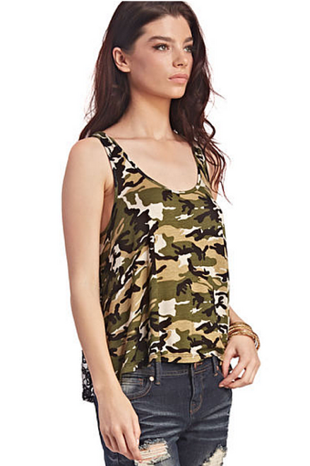 Wet Seal Camo Tank Top Black Lace Back B 102 5dollarfashions