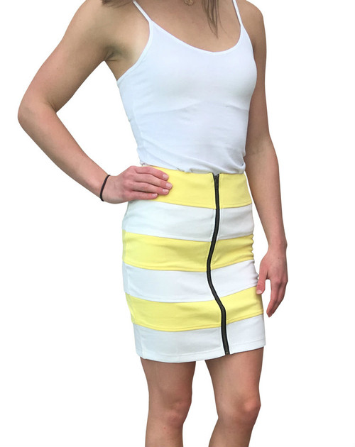 Yellow / White Striped Pencil Skirt with Zipper!  (E-92)