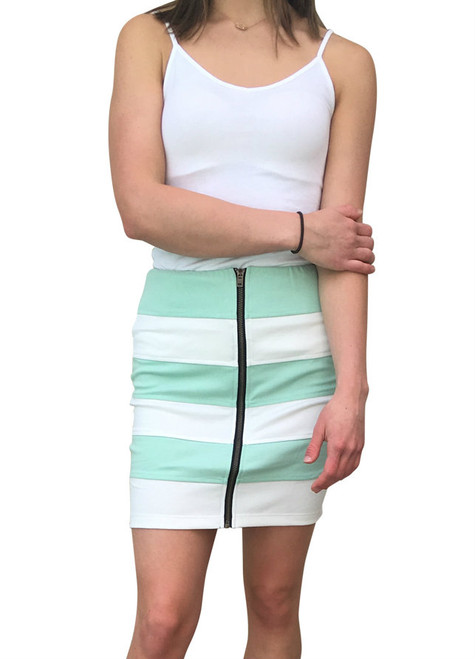 Mint / White Striped Pencil Skirt with Zipper!  (E-90)