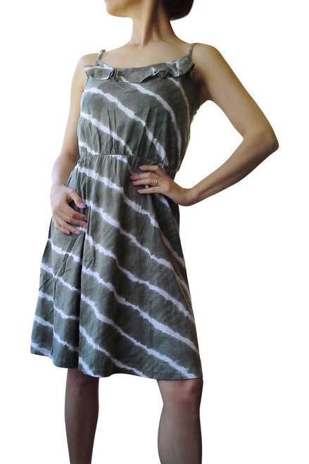 THE LOFT! 100% COTTON! GREEN DRESS WHITE TIE DYE STRIPE!  (D-65)