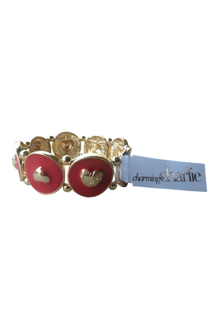 BRACELET IS GOLD & RED WITH HEARTS. $13 TAGS FROM CHARMING CHARLIE!  (G-34)