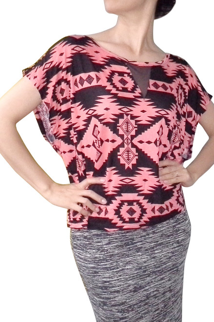 PLUS SIZE Aztec Print Top from Ambiance Apparel is 100% Rayon! Black & Coral.  (B-164)