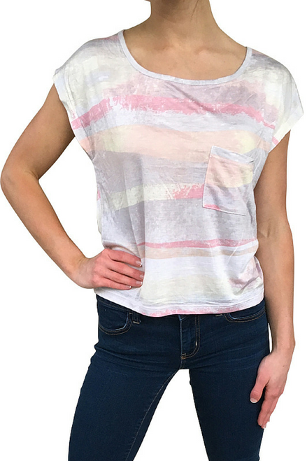 100% Rayon Major Brand Top in Pink & Yellow with Sublimation Stripes!  (B-116)