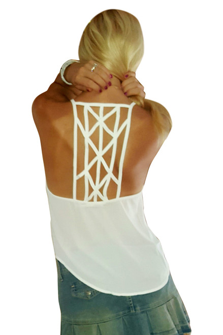 Light Mocha Sleeveless Top with Braided Criss-Cross Spaghetti Back!  (C-2)