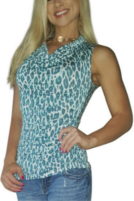 $22.50 Original Tags! Rayon Cowl Neck Top from Charlotte Russe in Teal Cheetah Print!  (C-104)