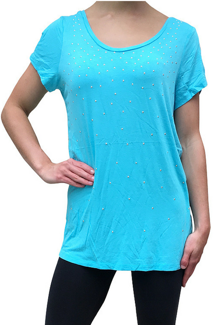 Short Sleeve Rayon Top With Studs! Light Blue.  (B-45)