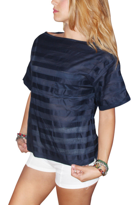 100% Cotton Boxy Blouse With Subtle Navy On Navy Stripes!  (D-140)